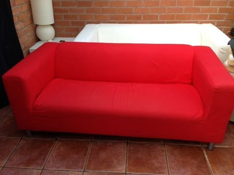 Ikea Klippan Sofa With Red Cover In Home Furniture Diy