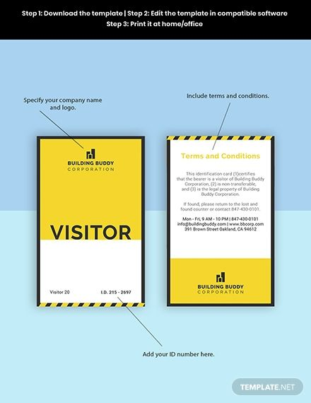 Construction Visitor Id Card Template Free Jpg Illustrator Indesign Word Apple Pages Psd Template Net Id Card Template Card Template Indesign