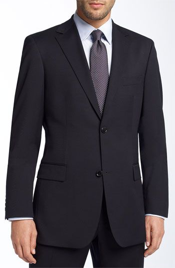 BOSS Black 'Pasolini' Navy Wool Suite - A modern suit with a notched-lapel jacket and flat-front trousers functions as a fundamental piece for all occasions.