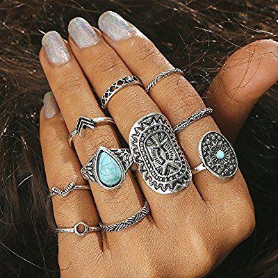 10 Pcs//set Vintage Turquoise Women Midi Finger Tip Knuckle Rings Set Boho Stack
