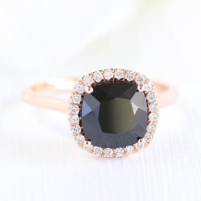 Looking For A Best Black Diamond Alternative Ring Black Spinel Engagement Rings Will Be Black Spinel Ring Unique Engagement Rings Halo Spinel Engagement Rings