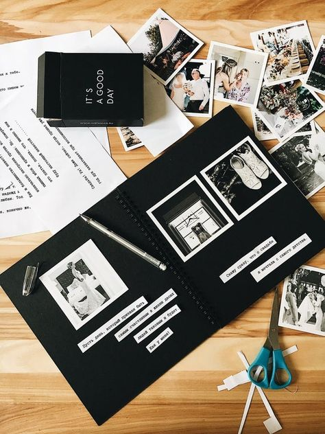 Wedding photo album as gift, made of black graphic cardboard
