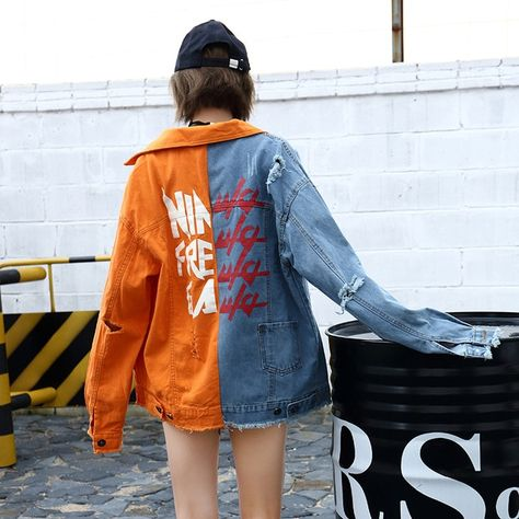 Split Color Retro Denim Jacket