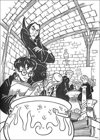 Harry Learns Magic Formula coloring page from Harry Potter ...