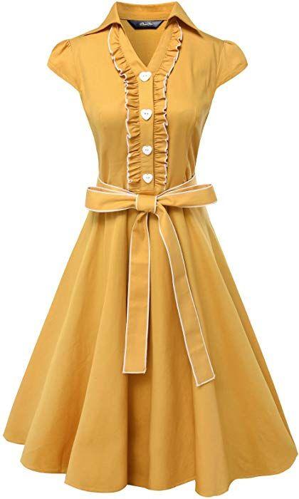 Amazon com: Anni Coco Women's 1950s Cap Sleeve Swing Vintage