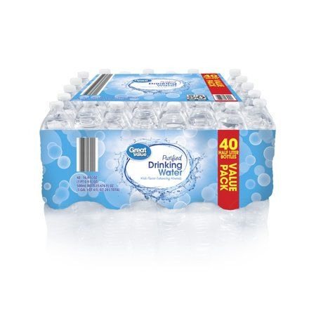 Great Value Purified Drinking Water Value Pack 16 9 Fl Oz 40 Count Walmart Com Drinking Water Grocery Walmart