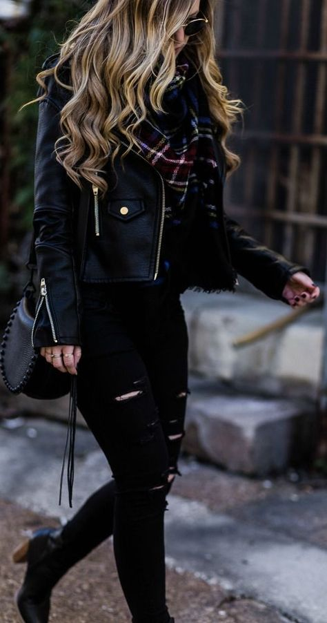 All black winter outfit styled with black leather jacket, black distressed jeans, plaid blanket scarf, and black ankle booties Mode sportlich Mens Leather Jackets