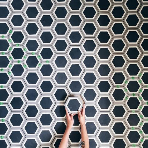 Love this pic of laying out her stunning encaustic concrete tiles. In Australia, these beauties are available at KWD.
