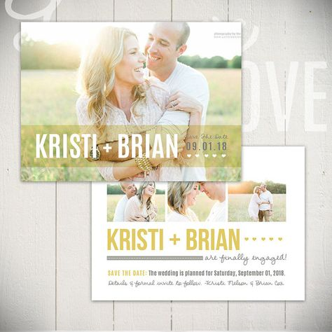 Save The Date Card Template Beloved Card D - 5x7 Engagement Card - engagement card template
