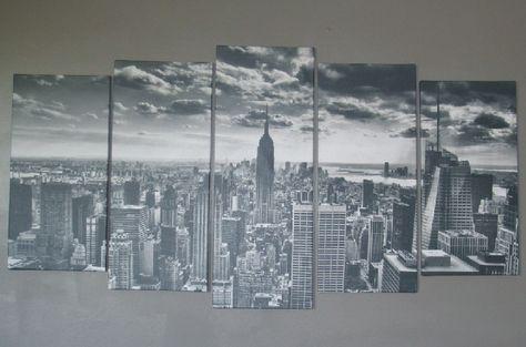 toile photo - vue du ciel sur manhattan, new york en noire et