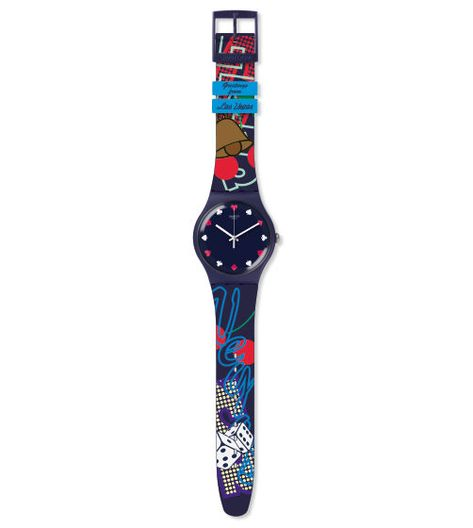 Swiss made, the Swatch watch WHAT HAPPENS IN VEGAS. features a quartz movement, a silicone strap and a plastic watch head. Discover more Originals New Gent on the Swatch United States website.