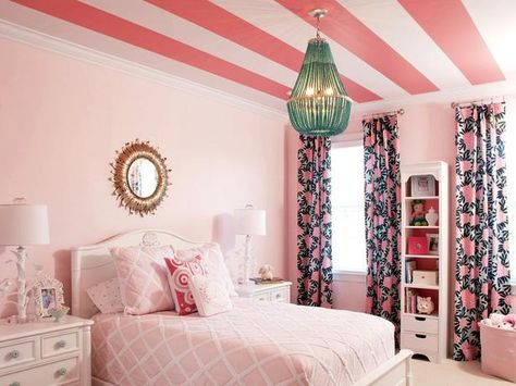 Designer Liz Carroll added grapefruit stripes on the ceiling to give this bedroom a playful touch. (http://blog.hgtv.com/design/2014/02/05/hgtvs-february-color-of-the-month-pink-grapefruit?soc=Pinterest)