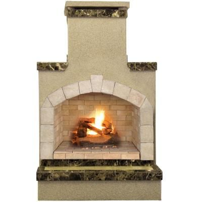 Sunjoy Amherst 35 In Wood Burning Outdoor Fireplace L Of082pst 3 The Home Depot With Images Outdoor Fireplace Propane Fireplace Outdoor Stone Fireplaces