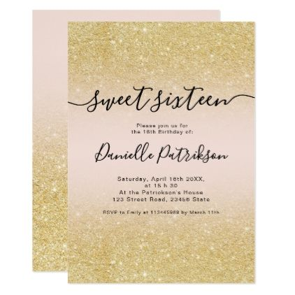Chic Gold Glitter Sparkles Pink Ombre