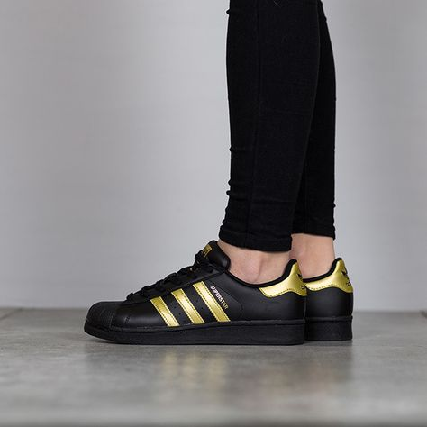 Adidas Trainer Junior Superstar Black Gold Metallic Adidas Superstar Adidas Shoes Superstar Addidas Superstar Shoes