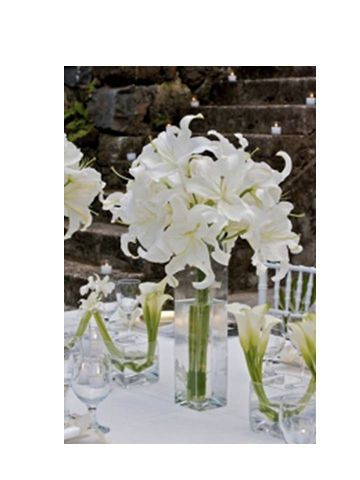 Pin By Mary Ann Smith On Moriah And Cody Wedding In 2020 White Wedding Flowers Wedding Centerpieces Lily Centerpieces