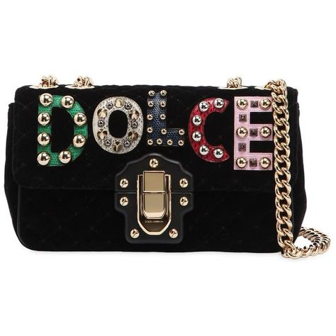 6477603c30c4 Dolce   Gabbana Women Small Lucia Velvet Bag W  Logo Patches (63 555 UAH) ❤  liked on Polyvore featuring bags