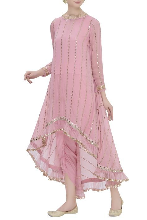 Buy High Low Kurta Dhoti Pant Set by Vvani by Vani Vats at Aza Fashions - Indian designer outfits -