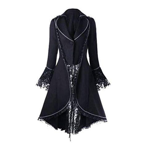 Vitoria Steampunk Lungo Cappotto Moda Maniche Lunghe Tailcoat Giacca Costume Abito per Halloween Festa Cosplay Taglie Forti S-3XL retr/ò Gotico Cappotti da Donna