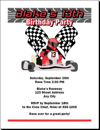 Go Kart Racer Birthday Party Invitations ECards From Print Villa - Free funny birthday invitation ecards