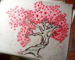 Completed Cherry Tree Tattoo Design By 16shokushu Cool Contrast But Too Cartoony Tattoosonb Blossom Tree Tattoo Cherry Blossom Tree Tattoo Family Tree Tattoo
