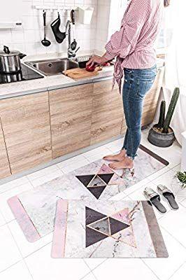 Amazon Com 2 Piece Non Slip Anti Fatigue Kitchen Mat 17 7 X 29 5 17 7 X 59 Soft Non Skid T Anti Fatigue Kitchen Mats Kitchen Rugs And Mats Kitchen Mat