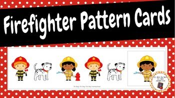 My Firefighter Pattern Cards set includes 30 unique pattern cards and 48 picture cards to complete the patterns.  6 AB pattern cards6 ABB pattern cards6 AAB pattern cards6 ABC pattern cards6 AABB pattern cards16 Dalmatian picture cards,16 firefighter with axe picture cards and 16 firefighter with hose picture cards.Preparation needed: Print., cut out and laminate.Activity: Have students finish the pattern by placing a picture card onto the pattern card.  *Use the picture cards to create…