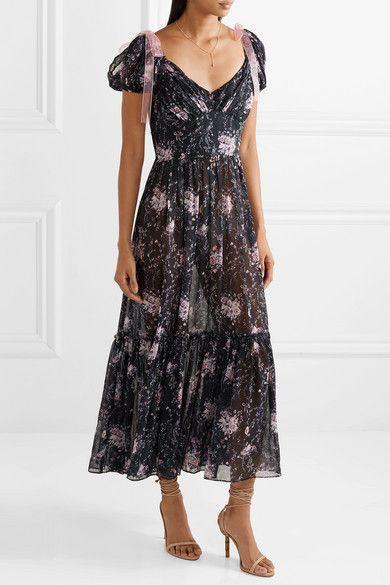 Feminine Floral Silk Maxi Dress