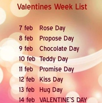 February 7th 14th For Week Day Started In 2020 Valentines Day