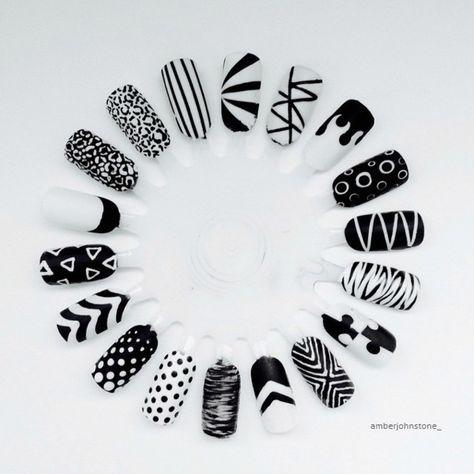 Monochrome Nail Art #monochrome #nails