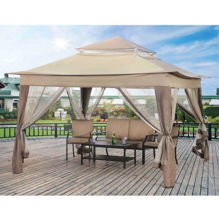 Sunjoy Peter Portable 10 X 10 Gazebo With Mosquito Netting Outdoor Pop Up Gazebo Canopy Tent W Carry Bag Beige Walmart Com Canopy Outdoor Portable Gazebo Gazebo