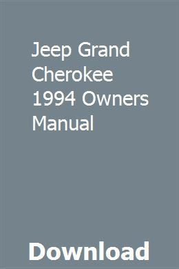 Jeep Grand Cherokee 1994 Owners Manual Owners Manuals Car Owners Manuals Installation Manual