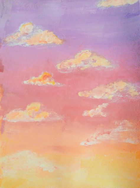 Can be a sunrise or a sunset, it really depends on my mood. I just wanted to paint a pink sky with my acrylics. Pink sky , wallpaper , aesthetic, acrylics , painting , clouds