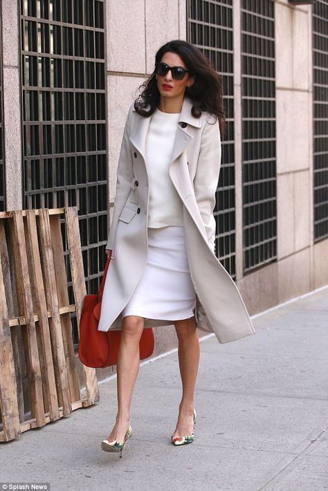 Amal Clooney looks summery in cream ensemble at Columbia University - She said in a statement: 'It is an honour to be invited as a visiting professor at Columbia Law S -