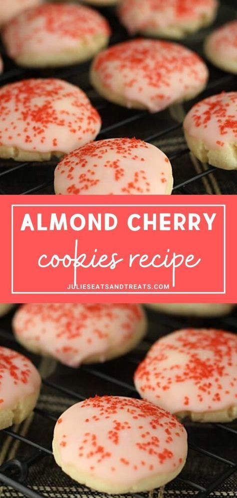 almond cookies Almond Cherry Cookies are perfect for gift giving and snacking this holiday season! Its an almond cookie glazed in cherry frosting with surprise cherry in the middle. You should try these festive and impressive cookies now! New Year's Desserts, Cookie Desserts, Cookie Recipes, Delicious Desserts, Dessert Recipes, Cookie Favors, Yummy Food, Almond Meal Cookies, Yummy Cookies