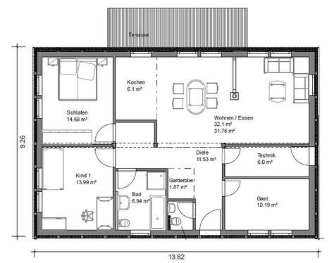 plan 96 bungalow mit fast 100 qm grundriss bungalow hauser in 2019 grundriss bungalow haus grundriss grundriss wohnung