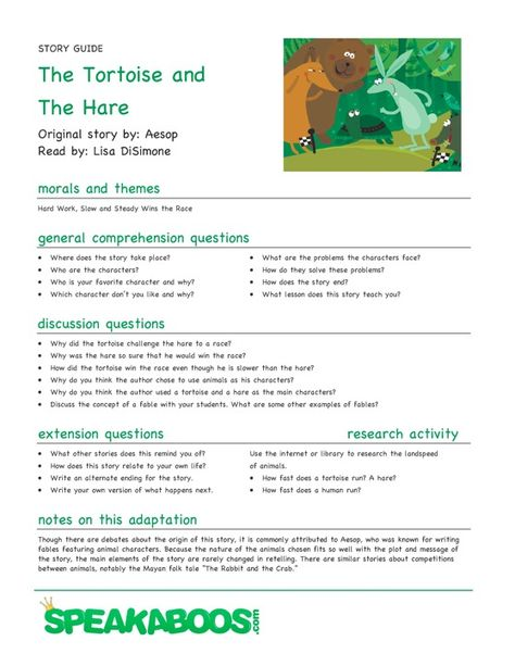 Lesson Plans: The Tortoise and the Hare | Speakaboos Worksheets
