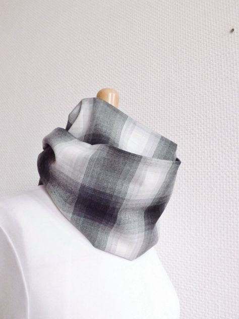 c275cb9ca5c9 100% MADE IN FRANCE - Infinity Scarf, grey checkered wool, French ...