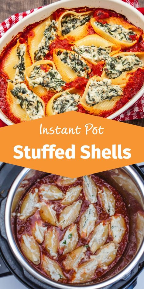 You will really love these stuffed cheese and spinach shells. It's simple and so comforting dish! This vegetarian Instant Pot recipe can easily be transformed by replacing marinara sauce with a meat s Instant Pot Pasta Recipe, Best Instant Pot Recipe, Instant Recipes, Instant Pot Dinner Recipes, Vegetarian Recipes Instant Pot, Pressure Cooker Recipes Vegetarian, Instapot Vegetarian Recipes, Best Instapot Recipes, Vegetarian Meals