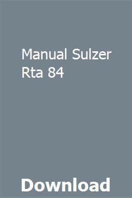 Manual Sulzer Rta 84 Mazda Rta Manual