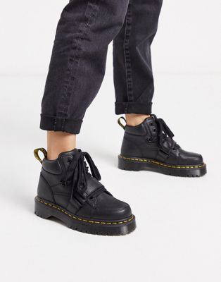 Dr Martens Zuma With Buckle Strap Flat Ankle Boots In Black Asos In 2020 Ankle Boots Flat Womens Boots Ankle Suede Boots Knee High