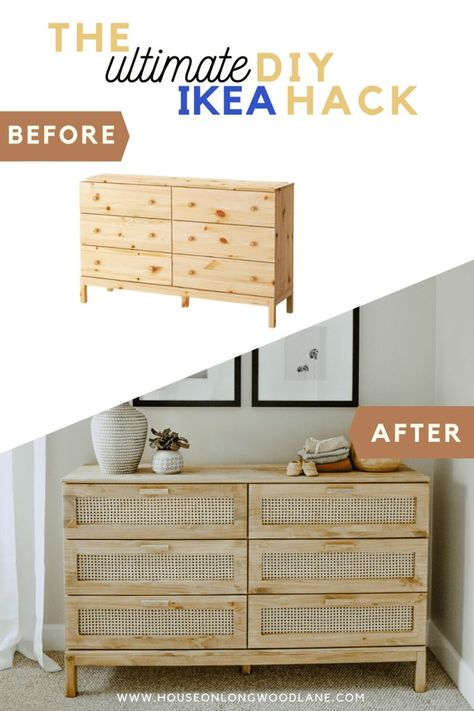 Looking for an easy DIY project with a BIG impact Calling all DIYers we DIYd an IKEA Tarva Dresser hack and turned it into a Cane Dresser for 40 Hacks Ikea, Ikea Furniture Hacks, Diy Furniture Projects, Home Furniture, Barbie Furniture, Hacks Diy, Furniture Design, Garden Furniture, Ikea Bedroom Furniture