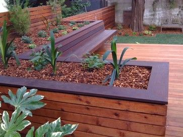Hardwood Deck With Built In Bench And Planters Contemporary Deck Planters Deck Designs Backyard Diy Planters