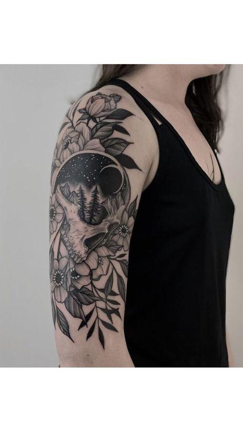 Sexy Tattoos, Badass Sleeve Tattoos, Arm Sleeve Tattoos For Women, Unique Half Sleeve Tattoos, Skull Sleeve Tattoos, Tattoos Arm Mann, Quarter Sleeve Tattoos, Tattoo Sleeve Designs, Body Art Tattoos