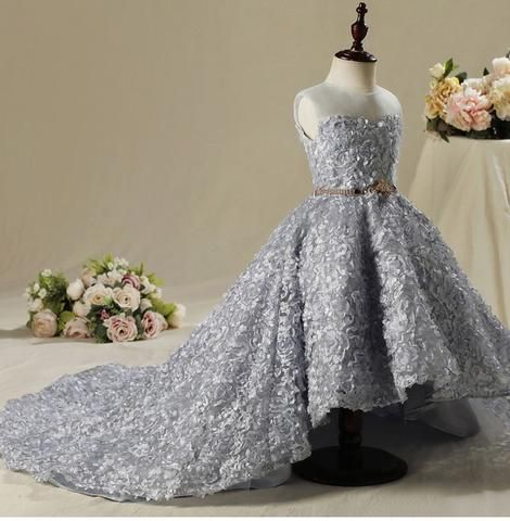 Floral High Low Gown Ball Gowns Wedding Dresses For Kids Kids Gown