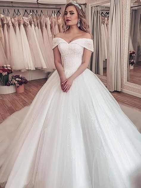 onlybridals Sparkling Tulle Off-the-shoulder Neckline Ball Gown Wedding Dresses With Rhinestones#ball #dresses #gown #neckline #offtheshoulder #onlybridals #rhinestones #shoulder #sparkling #tulle #wedding