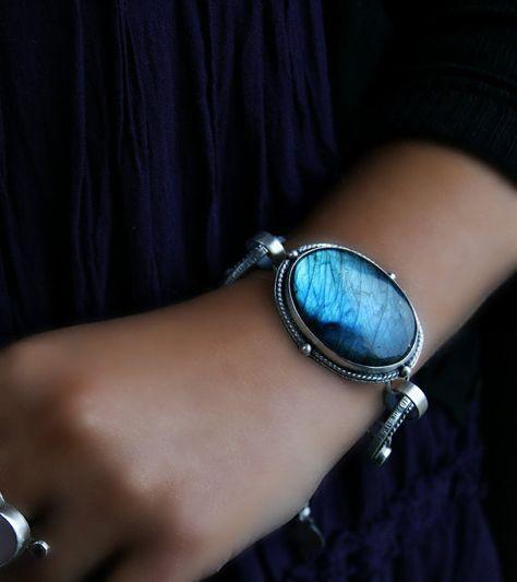 Reserved - In a Darkening Forest - Labradorite Sterling Silver Bracelet ~SheWolf★