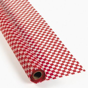 Red And White Checked Plastic Table And Banquet Roll 40 Inches By