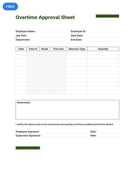 Free Overtime Approval Sheet Templates Sheet Ms Word