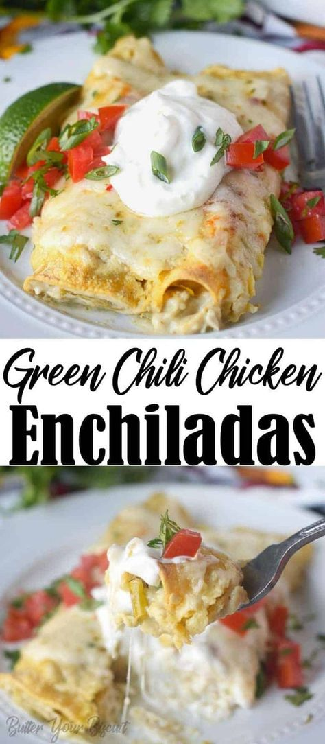 These Green Chile Chicken Enchiladas are creamy loaded with chicken, chiles and cheese. Perfect make ahead freezer meal, your family will love! # Green Chile Chicken Enchiladas Recipe-Butter Your Biscuit Enchiladas Guatemaltecas, Green Chicken Enchiladas, Green Chili Chicken, Chicken Chile, Enchiladas Healthy, White Chicken, Mexican Food Recipes, New Recipes, Gourmet